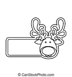 silhouette banner with face reindeer christmas animal