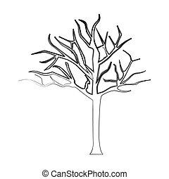 silhouette bare oak tree icon
