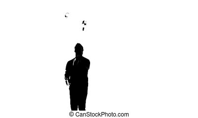silhouette bartender man on a white background