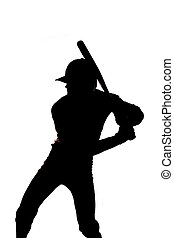 silhouette, baseball, pronto, a, altalena