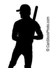 silhouette, baseball, standing