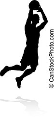 Silhouette Basketball Player - A silhouette basketball...