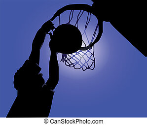 Silhouette basketball Ring in the game. Vector