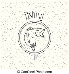 silhouette, basse, club, fish, saumon, éclat, peche, fond, monochrome, emblème, logo, blanc