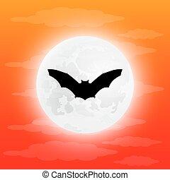 Silhouette bat in full moon