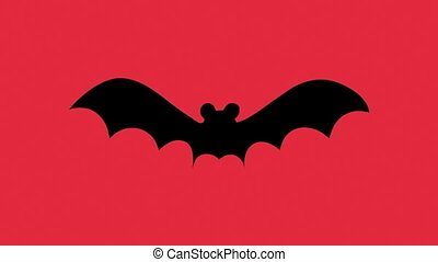 Silhouette bat on a red background.