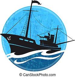 silhouette, bateau pêche, vague