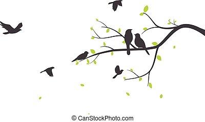 silhouette, baum, vogel, muster