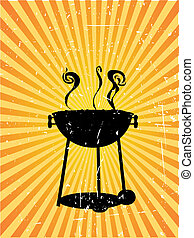 Silhouette bbq sunny rays accented grunge - Smoking bbq...