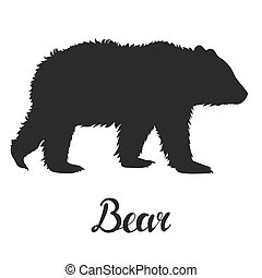 Silhouette bear on white background.