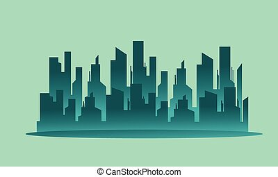 Silhouette beautiful city landscape