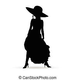 silhouette, bellezza, cappello, illustrazione, ragazza, vestire