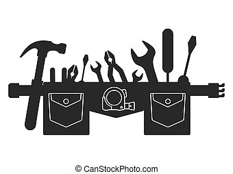 silhouette belt of tools - Silhouette of tool belt. Flat...