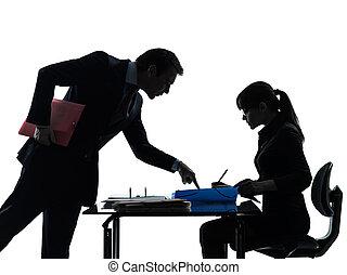 silhouette, bemannen vrouw, bedrijfspaar