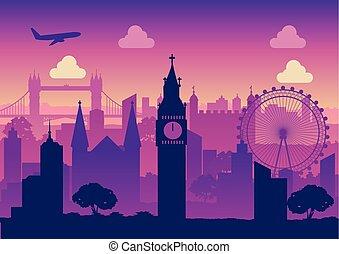 silhouette, berühmt, design, grenzstein, england