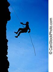 silhouette, bergsteiger