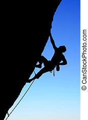 silhouette, bergsteiger, gestein