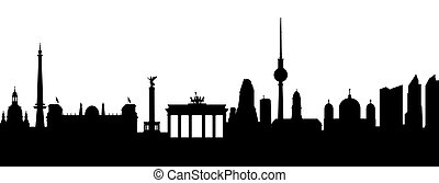 Silhouette Berlin in Black on white