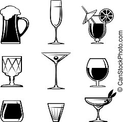 Graphic Designs - Assorted Silhouette Beverage or Alcohol Glass Icons on White Background