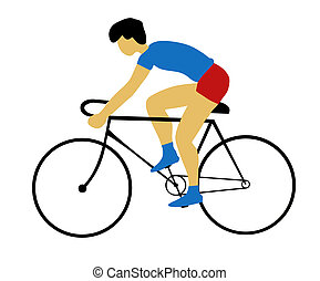 silhouette bicyclist on white background - silhouette...