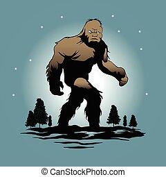 silhouette, bigfoot, illustrazione