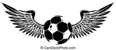 silhouette, bild, schwarz, grunge, vektor, fußball, geflügelt, kugel
