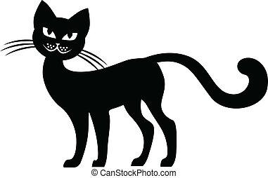 Silhouette  black cat