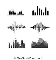 Silhouette Black Equalizer Icon Set. Vector