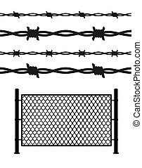 Silhouette Black Metal Fence Wire Mesh. Vector