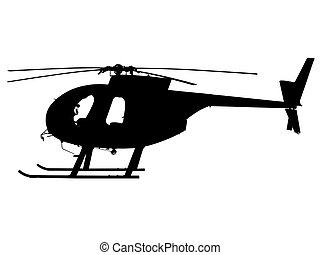 helicopter - Silhouette black on white background of small...