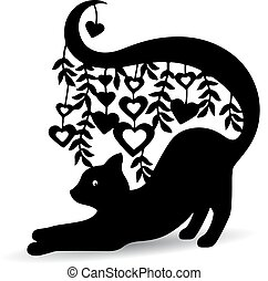 Silhouette black, ornate cat, with a long tail where the hearts hang, on a white background,