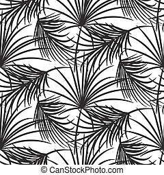 Silhouette black palm leaves seamless vector pattern.