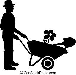 silhouette, blanc, noir, jardinier