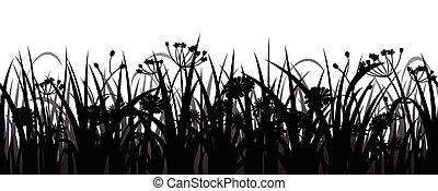 silhouette, bloemen, gras, seamless
