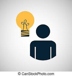 silhouette blue man idea innovation design