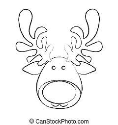 silhouette blurred cartoon funny face reindeer animal