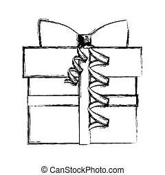 silhouette blurred gift box with ribbon
