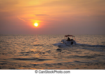 Silhouette Boat in the sea