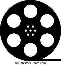 silhouette, bobina, film, nero