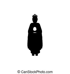 silhouette body wise men with gifts flat icon