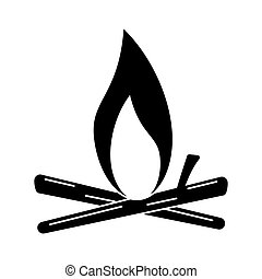 silhouette bonfire wood camping design