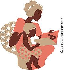 silhouette, book., kaart, mooi, mother's, baby, vrolijke , dag, moeder, lezende