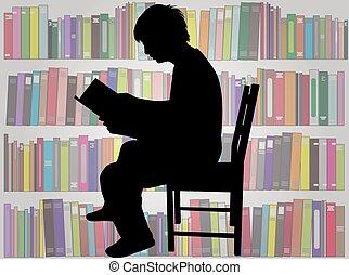 silhouette, book., man