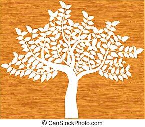 silhouette, boompje, hout, vrijstaand, vector, achtergrond, witte
