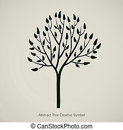 silhouette, boompje, illustratie, vector, tak, design., pictogram