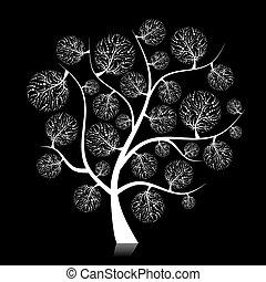 silhouette, boompje, ontwerp, kunst, jouw, black