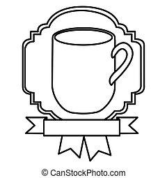 silhouette border heraldic decorative ribbon with big mug with handle