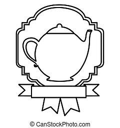 silhouette border heraldic decorative ribbon with teapot
