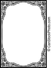 border roses - silhouette border roses- vector illustration