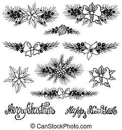 silhouette, borders.fir, branches, arbre noël